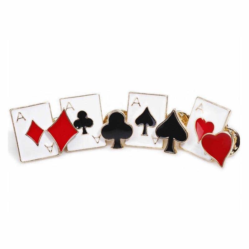 2020 8 Pz/lotto Carte da Gioco in Metallo Set da Poker Spade Club Spilli Dello Smalto Spilla Spille Gioielli per Le Donne Risvolto Spille Uomini accessori
