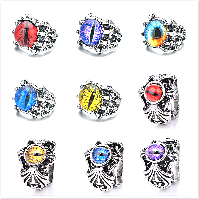 Мужское кольцо с цветными глазами, регулируемое готическое кольцо в стиле панк с геометрическим узором и когтями, подарочное ювелирное изд...