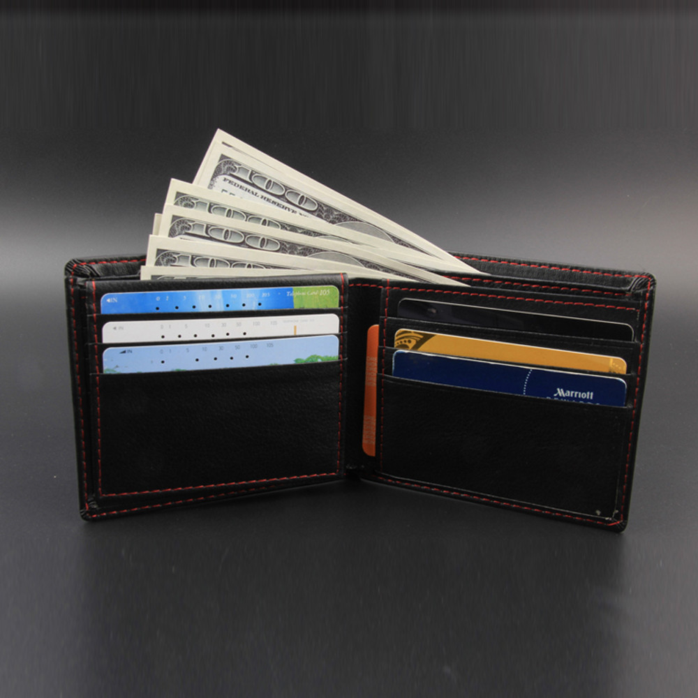 Small Wallet Men Leather Wallet Vintage High Quality Slim Leather Mini Wallet Credit Card Bifold Purse Coin Key Purse
