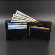 Small wallet men Leather Wallet Vintage High Quality Slim Leather Mini Wallet Credit Card Bifold Purse Coin key Purse(China)