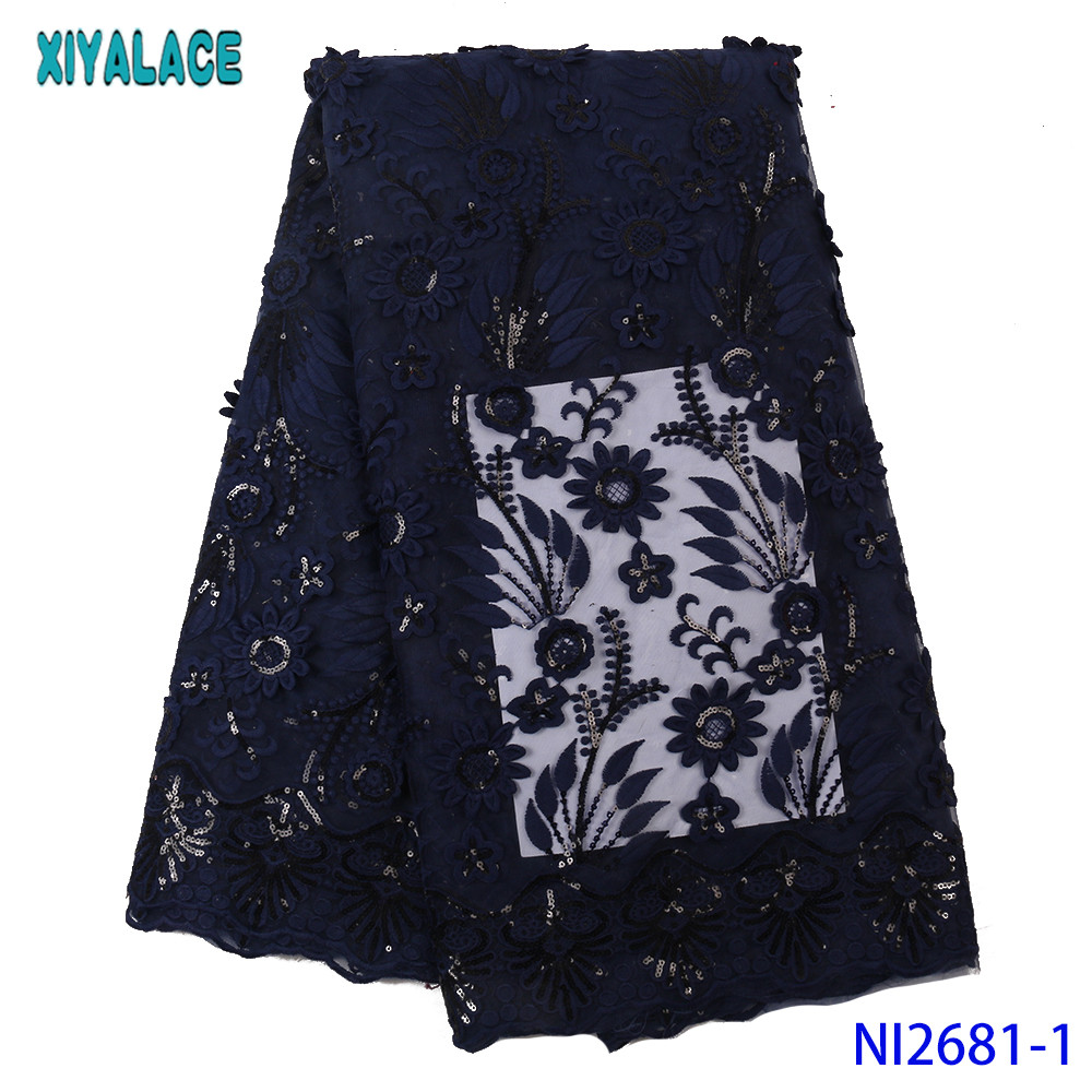 2019 Nigerian Lace Fabrics Latest Lace Fabric Sequin Lace Fabric African Embroidery Laces For Wedding Party KSNI2681