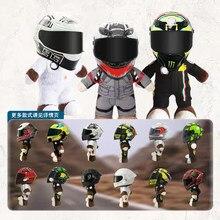 28cm nova motocicleta capacete de corrida urso boneca animais de pelúcia brinquedos vestir um veneno capacete boneca da motocicleta decoração presente