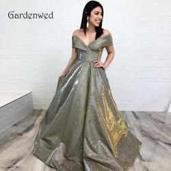 Садовое блестящее золотистое вечернее платье 2019 современный новый дизайн ткани длинное строгое платье на молнии сзади Королевский синий