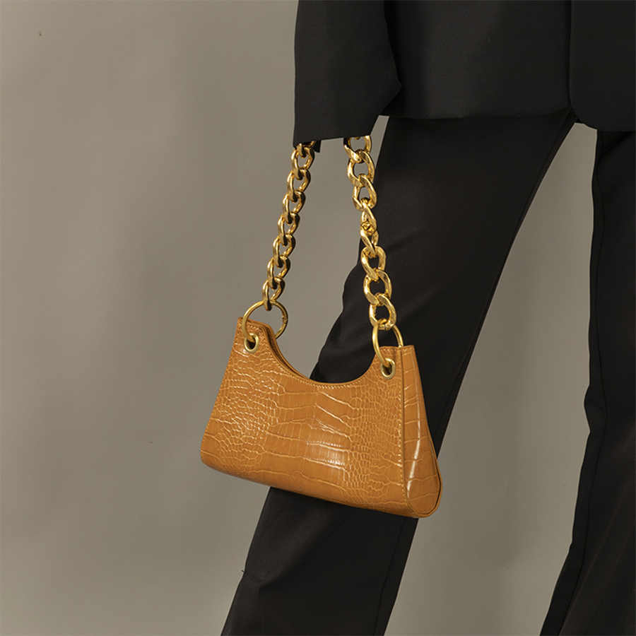 אופנה באגט בציר צורת שקיות באיכות גבוהה יוקרה תיקי עור נשים שקיות שרשרת כתף שקיות דפוס תנין טוטס