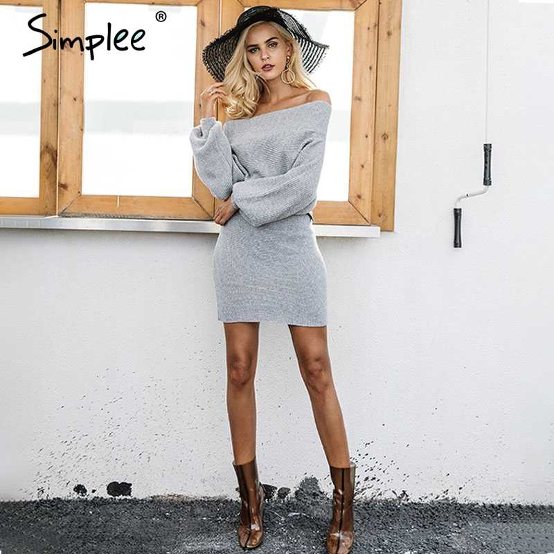 Женское платье-свитер Simplee на осень-зиму, трикотажный элегантный свободный длинный пуловер с открытыми плечами, серый свитер с рукавом летучая мышь, джемпер