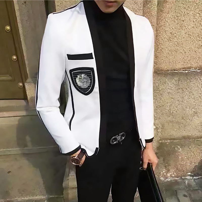 Trend Single Product Leisure Time Then Hombre White Mens Blazer Jacket Teenagers Man's Suit Hairstyle Division Handsome