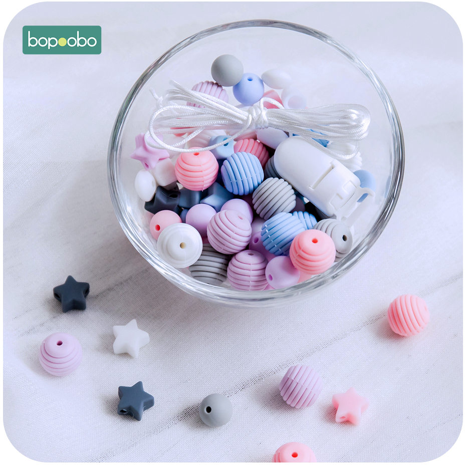 Bopoobo DIY Set Silicone Beads Food Grade Animal Bead For Nursing Pacifier Chain Pendant Necklace Crafts Accessory Baby Teether