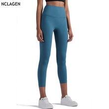 Leggings esporte 3/4 de cintura alta calças fitness yoga push up correndo esportiva elástica agachamento prova workout gym collants nclagen