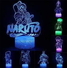 Anime Uzumaki Naruto Figures Night Light Toys Desk 3D Nightlight Kakashi Sasuke LED Colourful Glow Home Decor Birthday Gifts