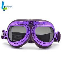 Riding Glasses Steampunk-Goggles Pilot Helmet Biker Retro Vintage ATV Purple Jet-Ski-Dirt