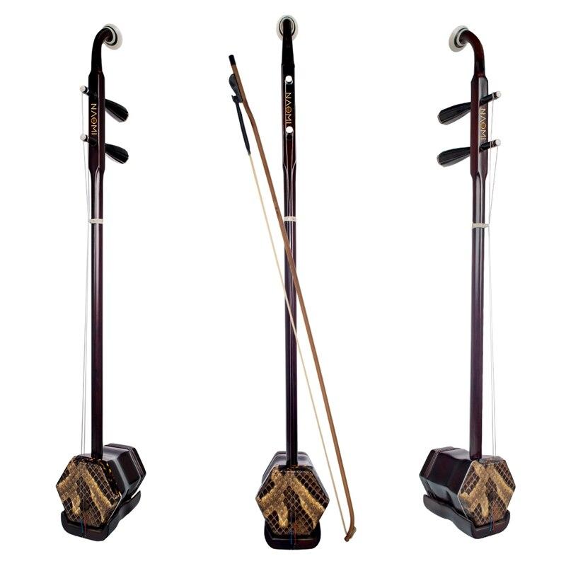 NAOMI bois Erhu chinois violon à 2 cordes Guqin forme hexagonale Instrument de piqûre avec pont d'arc étui de transport