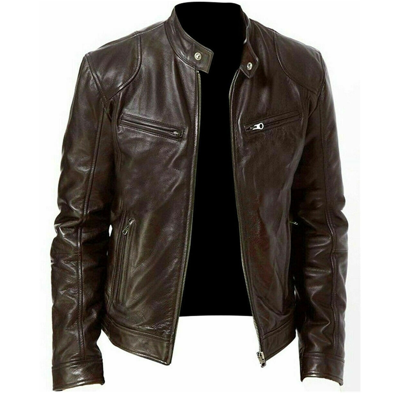 Jacket Motorcycle-Stand-Collar Biker Brown Black Winter Fashion Men Slim-Fit Warm Genuine title=