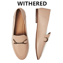 Withered 2021 new arrival women shoes women flat shoes england style Horsebit solid sheep soft slip-on loafers women shoes woman