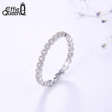 Effie Queen 100% 925 Sterling Silver Shiny Eternity Rings with AAAA Zircon for Women Wedding Band Engagement Jewelry Gift TSR145(China)
