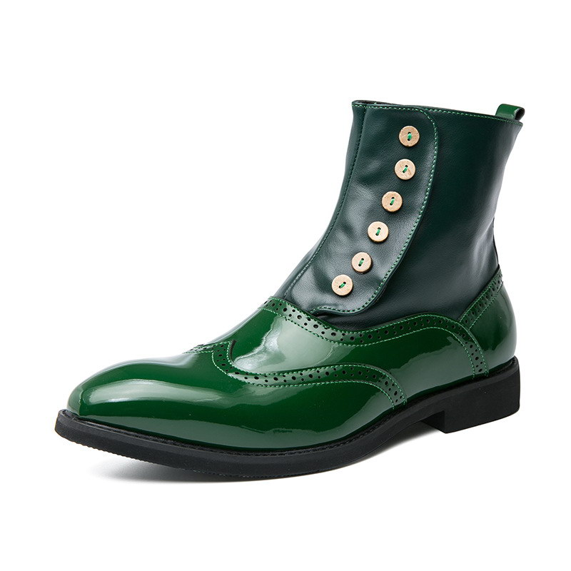 ERRFC New Arrival Men's Green Ankle Boots Pointed Toe Patent Leather Man Brogue Shoes High Top Short Boots For Man Motorcycle