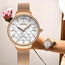 SUNKTA New Womens Watch Top Brand Luxury Simple Fashion Mesh Belt Waterproof Ladies Sport Clock Reloj Mujer