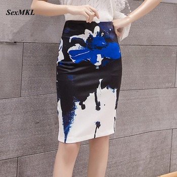 Floral Printed Office Skirt Women 2020 Fashion Bodycon Pencil Skirts Womens Casual Knee Length Korean High Waist Sexy Midi Skirt 2019 newly fashion droppshiping womens office skirt casual skirt pencil skirt ol skirt office wear bfj55