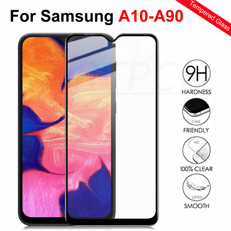 9D Tempered Glass On For Samsung Galaxy A10 A20 A30 A40 A50 A60 A70 A80 A90 M10 M20 M30 M40 Screen Protective Glass Film Case