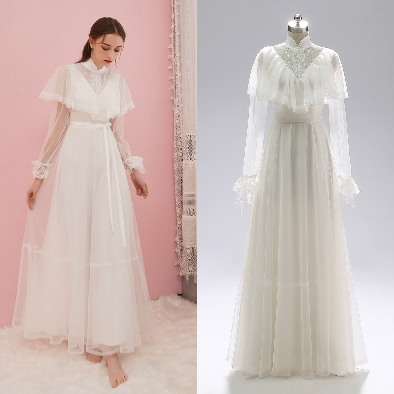Victorian Vintage Simple Bridal Gown Evening Dress Outdoor Photography Wedding Dress Real Photo Factory Price