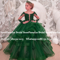 Luxury Green Lace Flower Girls Dresses 2020 Sheer Long Sleeves Appliques Beads Tiered Ball Gown Pageant Dress Prom Vestidos