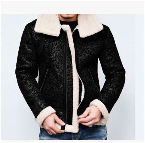 2018 Europe And America Solid Color Zipper Jacket Cardigan Thick Men Autumn And Winter Coat Ac1569 Suede