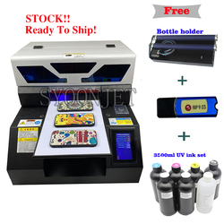 Penuh Otomatis A4 UV Printer dengan Layar Sentuh & Tinta Putih Sistem Sirkulasi untuk Botol Pena Ponsel Case T Shirt kayu Akrilik