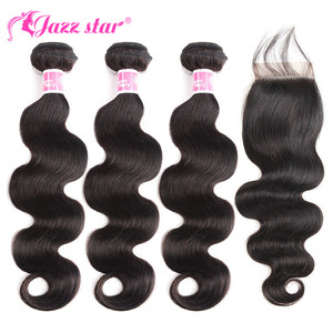 Image 1 - Peruvian Hair Bundles with Closure Body Wave Bundles with Closure 3 Bundles with Closure Queen Mary Non Remy 100% Human Hair