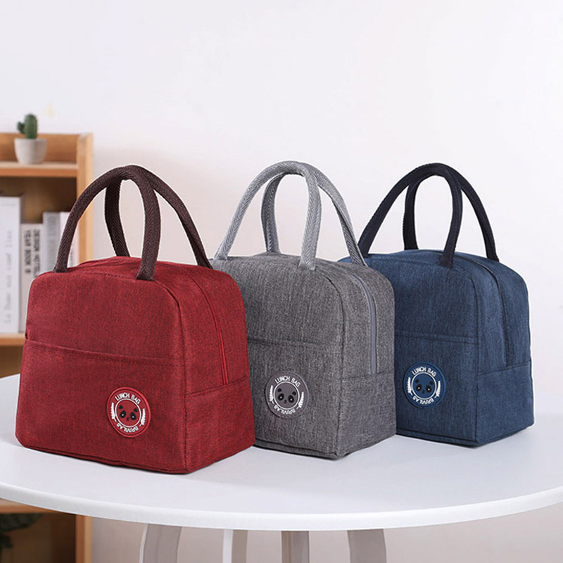 Q1Pcs Portable Lunch Bag Waterproof Zipper Bento Pouch Thermal Oxford Lunch Bags For Women Convenient Lunch Box Tote Food Bags