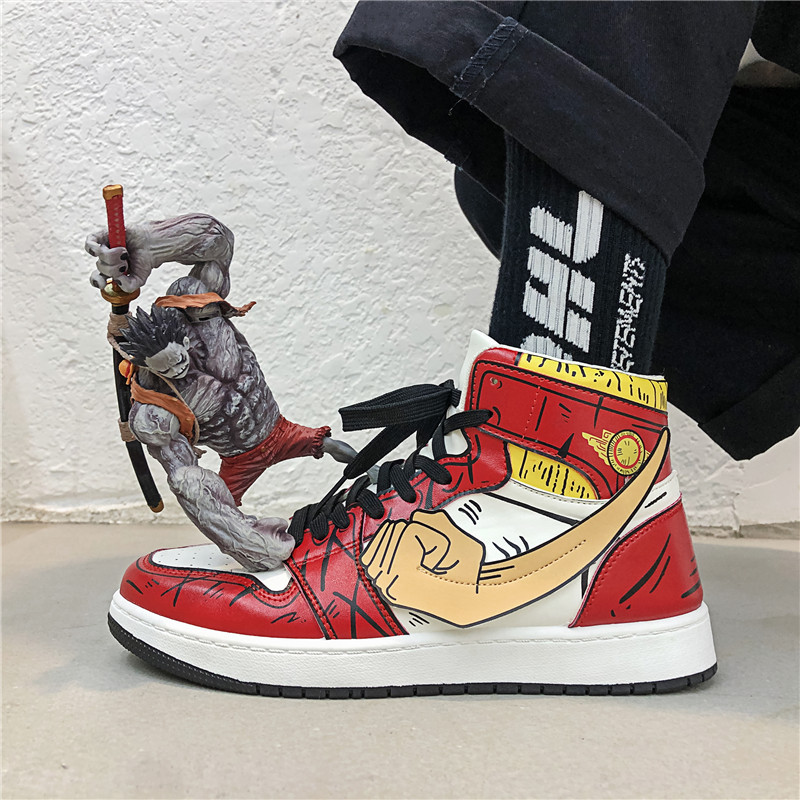 Sneakers Men Canvas Shoes Casual Vulcanized Shoes Male High Top Sneakers Cartoon Lace Up Breathable Trainers Zapatillas Hombre