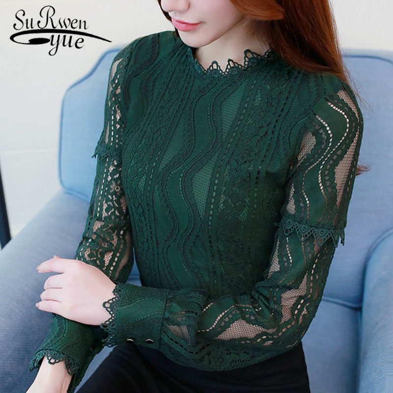 2019 Fashion Women Blouse Shirt Green Color Long Sleeve Lace Women's Clothing Hollow Out Plus Size Feminine Tops Blusas C896 30