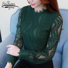 2019 fashion women blouse shirt green Color Long Sleeve Lace