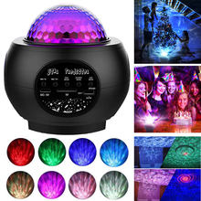 USB LED automatic music starry night light water LED projector light bluetooth speaker sound control rhythm light decoration(China)