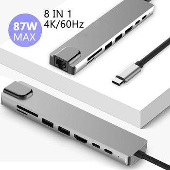 4K 60Hz USB C Laptop Docking Station RJ45 PD HDMI-compatible for MacBook Samsung Galaxy S9 /S8 / S8+Type C Dock Type-c HUB 1