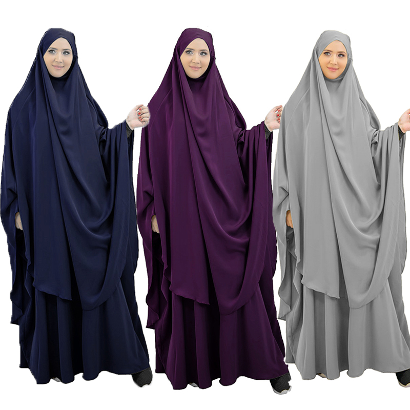 Eid Muslim 2 Piece Prayer Garment Hijab Dress Set Women Long Khimar Skirt Jilbab Abaya Ramadan Islamic Niqab Musulman Ensembles