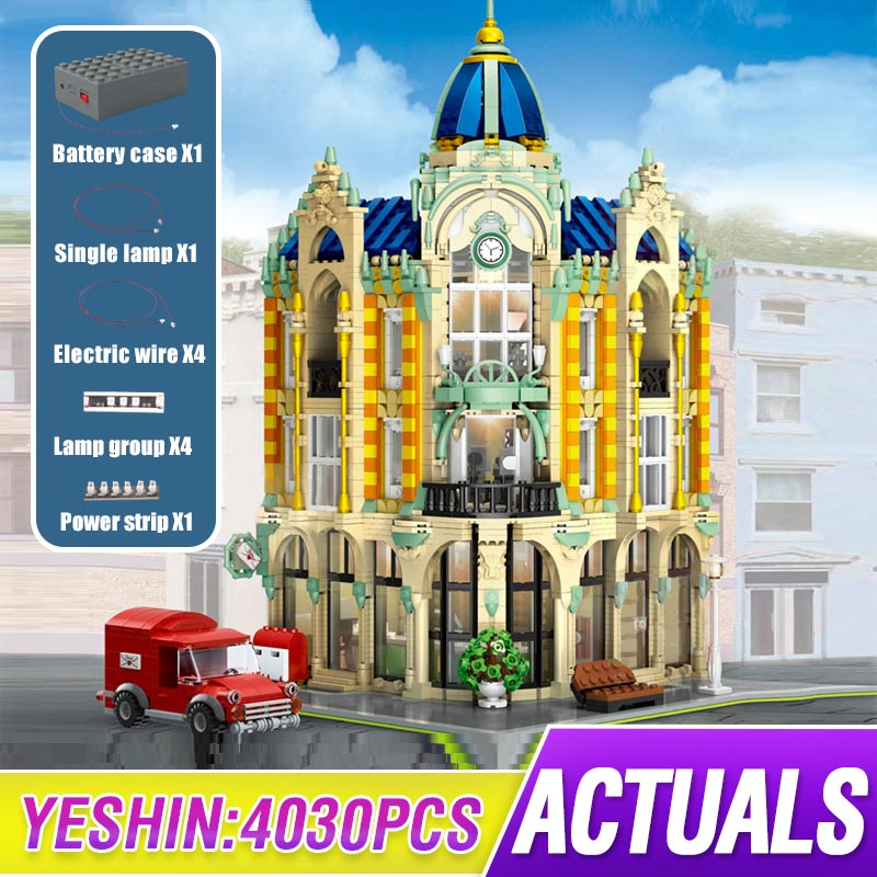 MOC Street View Creator Series Post Office Corner Building Blocks Bricks Toys For Children Toys Compatible Lepining 10182 Gifts