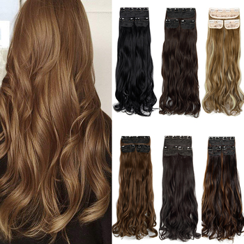 3pcs Set 18'' 24''Hair Extensions Full Head Clip In for Women Thick Natural Hair Silky Straight Curly - discount item  50% OFF Synthetic Hair