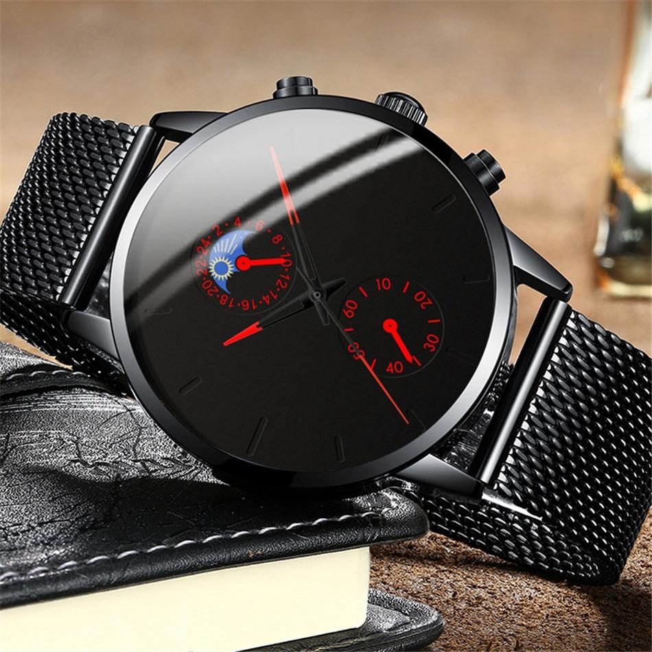 H334d2dbac7bc4756b9bece2563eb76adk Fashion Mens Business Black Watches Luxury Stainless Steel leather Belt Watch Quartz Men Wrist Watch Relojes Hombre