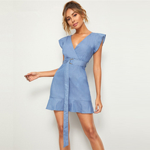 Blue Solid V Neck Ruffle Trim Keyhole Back Belted Denim Dress 2019 Summer Cap Sleeve High Waist Elegant Pencil Dresses цена 2017