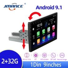 Автомобильный мультимедийный плеер JMANCE, мультимедийный проигрыватель 1 DIN на Android 9,1 с четырехъядерным процессором, GPS-навигацией, 9 '', универ...
