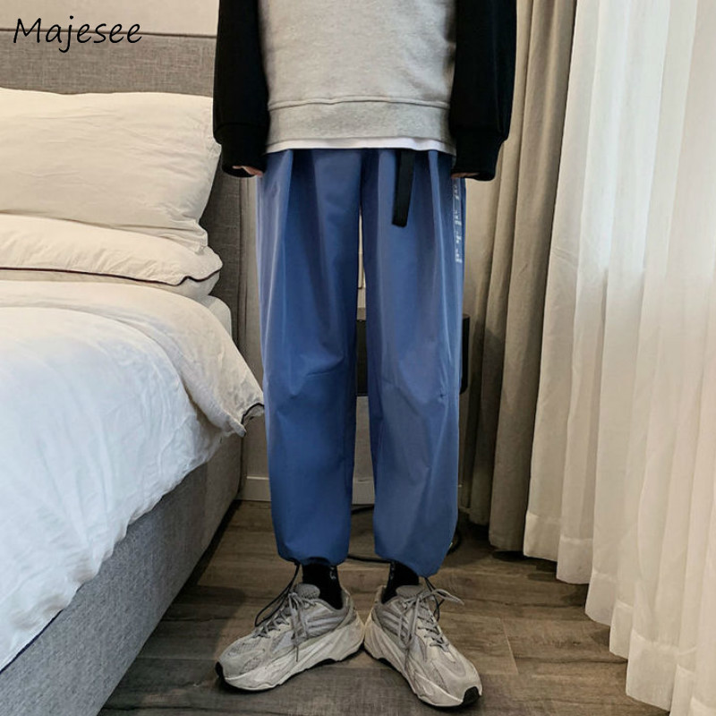 Men Casual Wide Leg Pants Solid Pattern Three Colors Ankle-length Elastic Loose Fashion Simple All-match Korean Style Streetwear