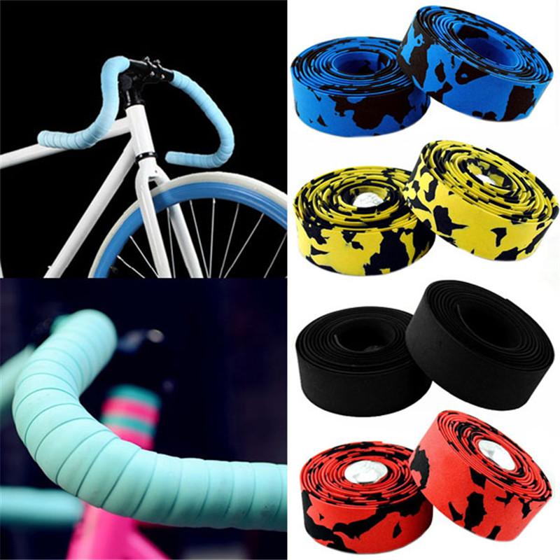 2pcs Multi-functional Bicycle Handlebar Tape Steering Wheel Cover Road Bike Cycling Handle Non-slip Belt Rubber Tape