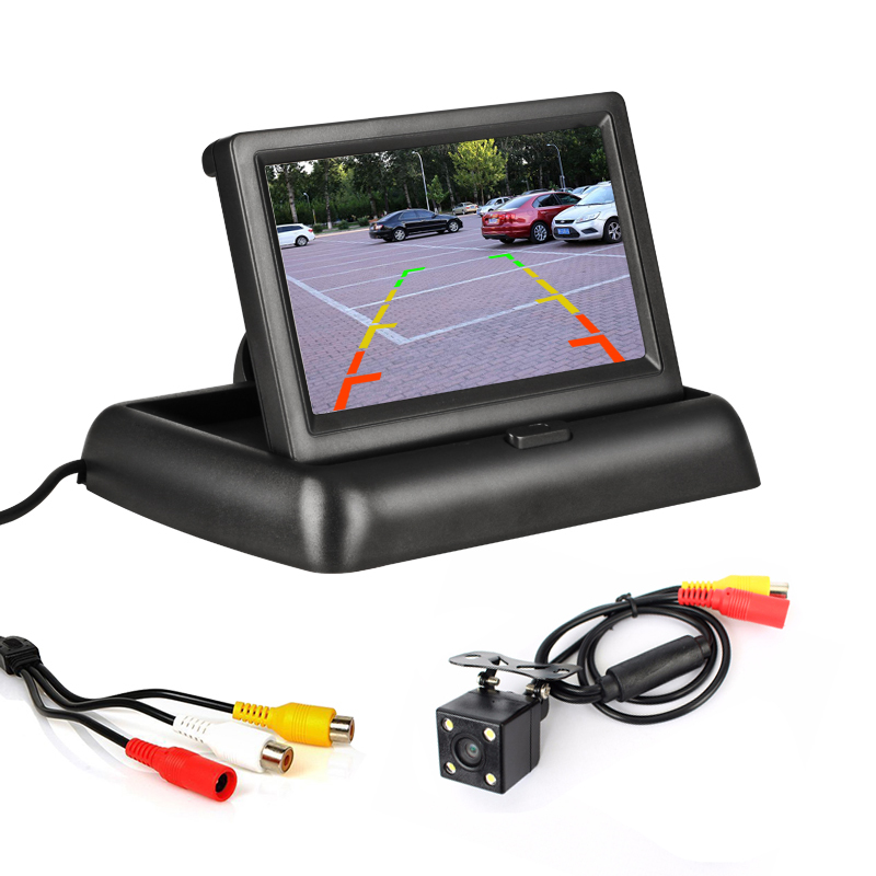 Foldable Monitor Display <font><b>4.3</b></font> <font><b>inch</b></font> <font><b>TFT</b></font> LCD Car Monitor AV Input Display Screen Reverse Camera Parking System Rearview Monitors image