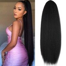 XINRAN Синтетические прямые накладные волосы Yaki для конского хвоста кулиска афро Yaki волосы для женщин 24 дюйма