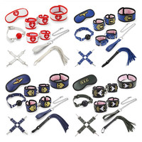 BDSM Uniform Style Sex Toys Set PU Eye Mask Collar Handcuffs Whips Adult Sex Accessories for Erotic Women Role Play Torture Game