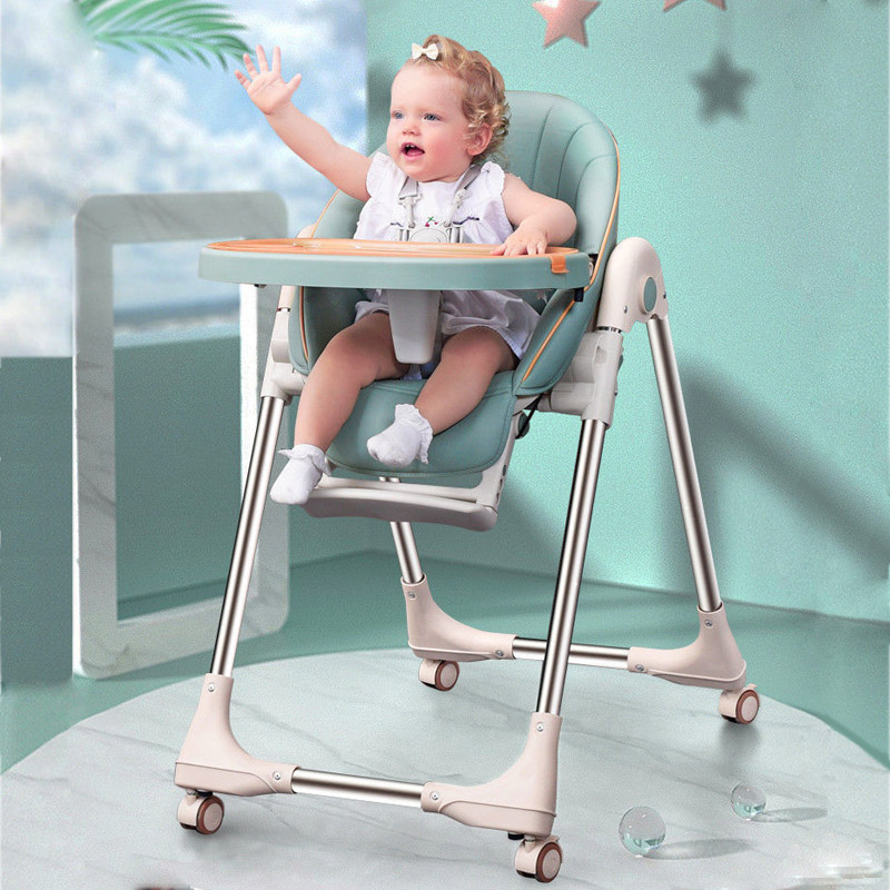 Folding Baby High Chair Toddler Feeding Chair Portable Baby Dining Chair Children Highchair Kids Booster Seat for Dining 0~3 Y