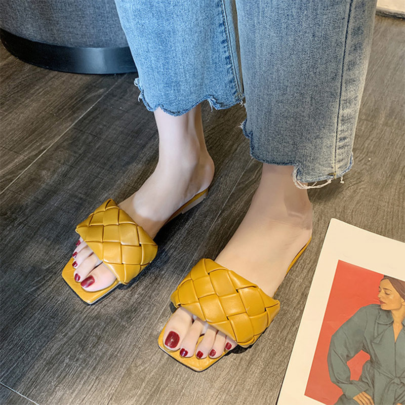 Fashion Women Slippers Summer Weaving Beach Outdoor Slides PU Leather Casual Female Flat Sandals Woman Comfortable Ladies Shoes