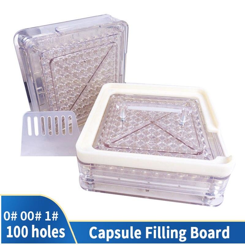 00 #0 #1 #100 agujero estilo acrílico transparente Máquina manual de llenado de cápsulas máquina de envasado Placa de llenado