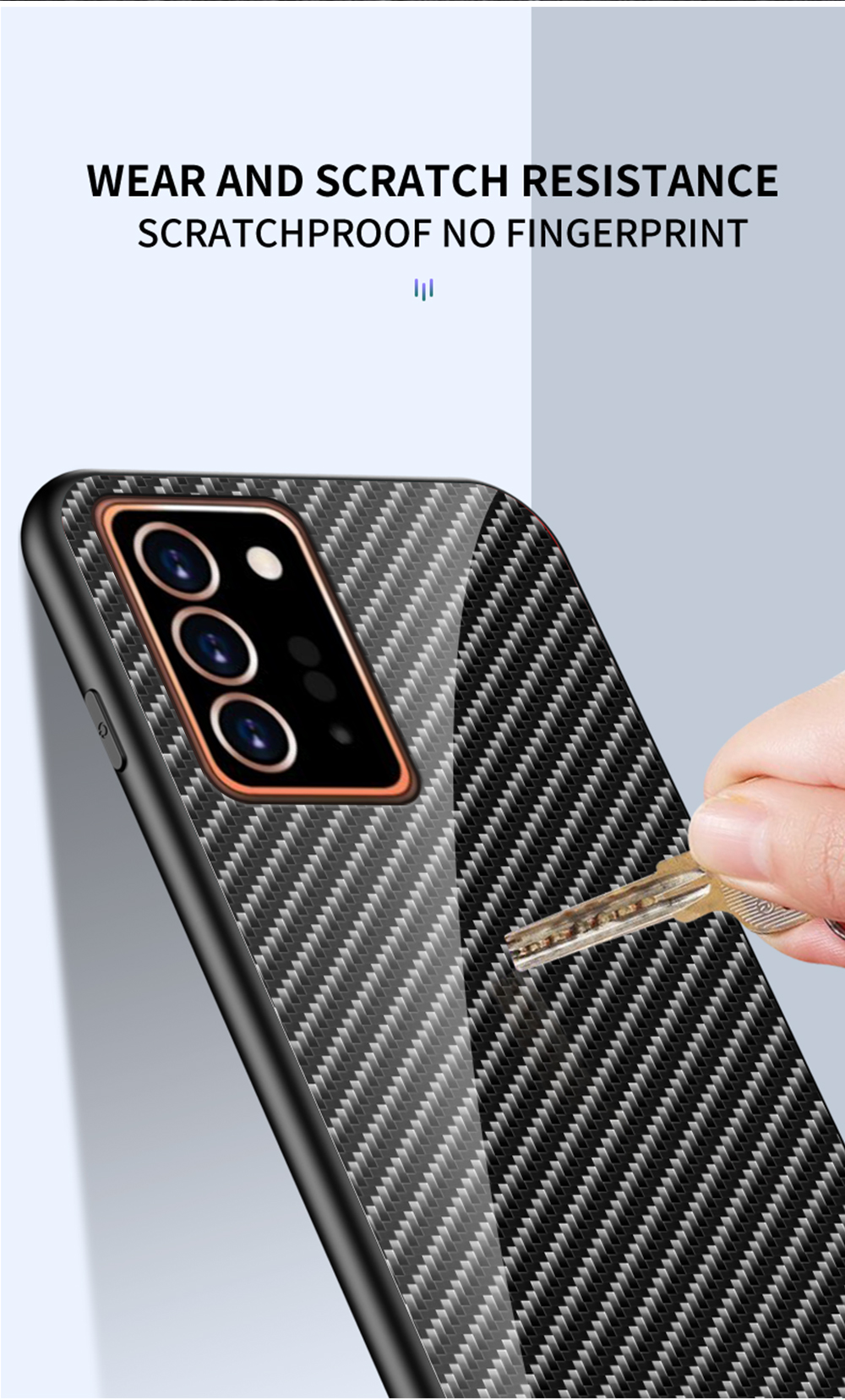 XUANYAO Case Cover For Samsung Galaxy Note 20 Plus Case Glass Hard Cover For Samsung Galaxy Note 20 Ultra Case Slim Carbon Fiber (12)