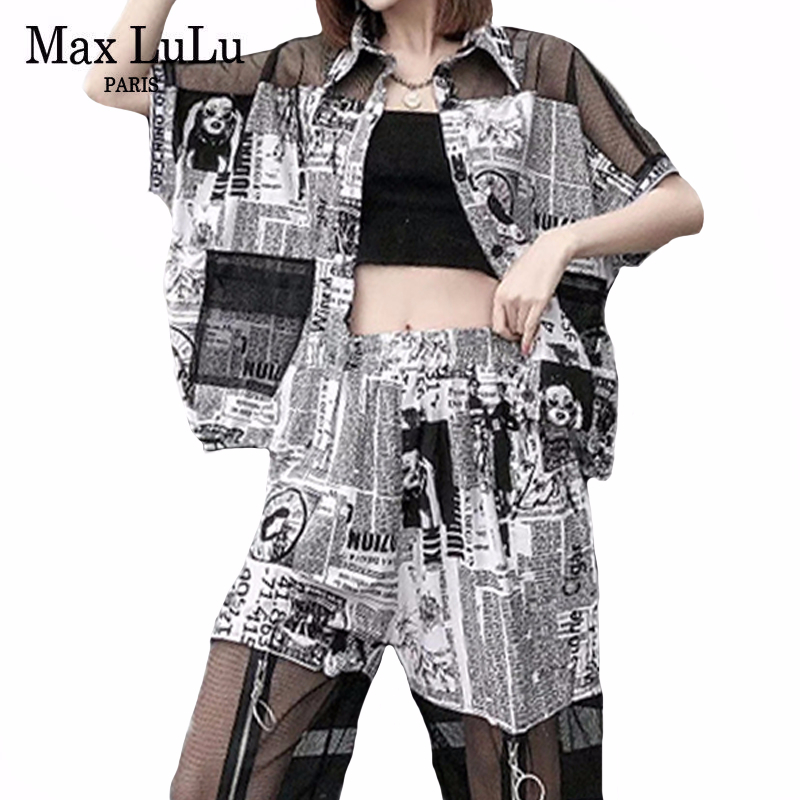 Max LuLu 2020 New Summer European Fashion Style Ladies Printed Two Pieces Sets Womens Casual Vintage Suits Punk Tops And Pants