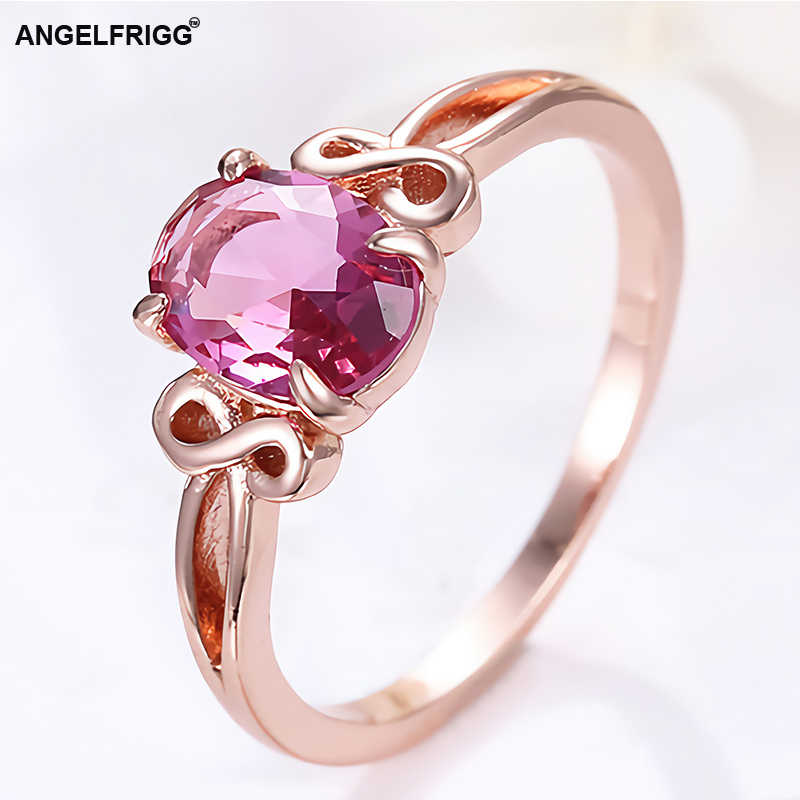 ANGELFRIGG Classic Rose Gold Rings With AAA Pink CZ For Women Engagement Wedding Bands Party Graduation Jewelry Gift